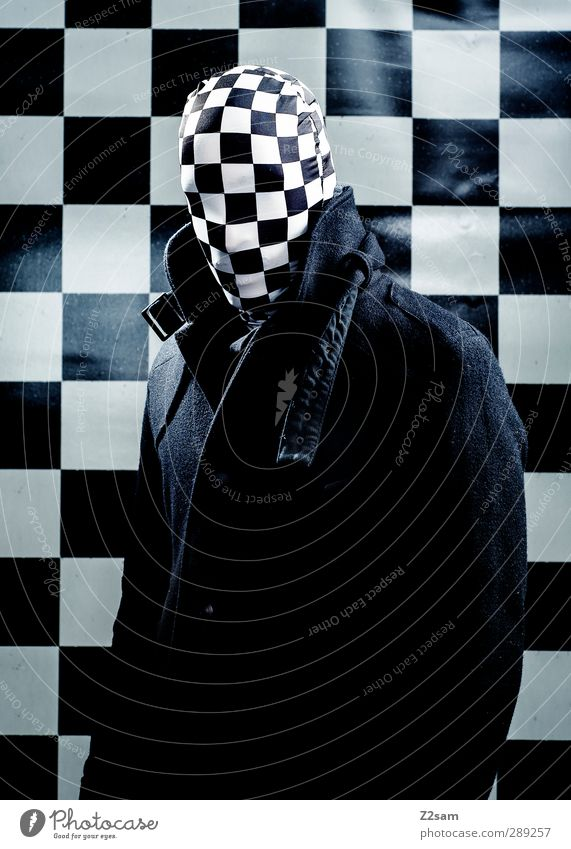 Youth (Young adults) Adults Dark Cold Young man 18 - 30 years Masculine Power Threat Mask Creepy Jacket Whimsical Evil Surrealism Checkered