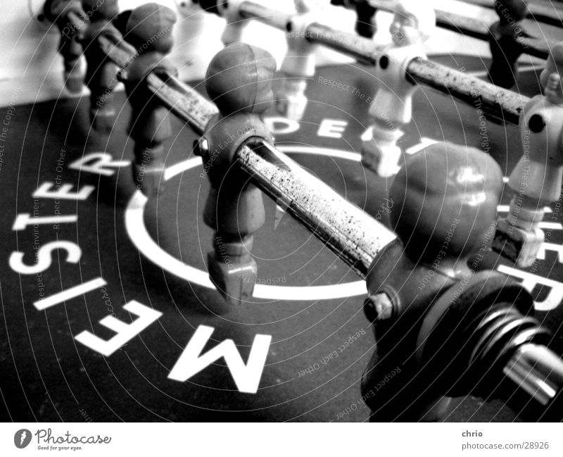 table football Gray scale value Leisure and hobbies Playing Sports team Master Rod Table soccer Black & white photo Macro (Extreme close-up) Central perspective