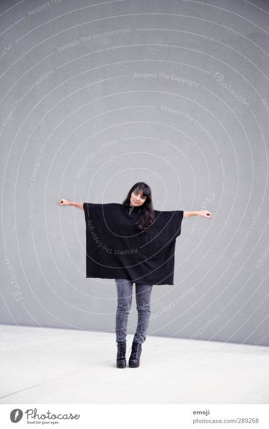 Q = Square Feminine Young woman Youth (Young adults) 1 Human being 18 - 30 years Adults Fashion Clothing Hip & trendy Gray Black Cape Colour photo