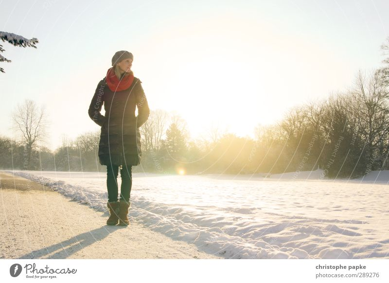 winter sun Elegant Style Relaxation Winter Snow Winter vacation Human being Young woman Youth (Young adults) 1 18 - 30 years Adults 30 - 45 years