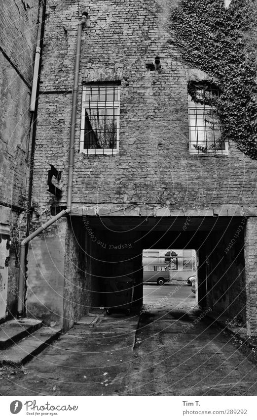 Berlin Capital city Downtown Old town Deserted House (Residential Structure) Gate Wall (barrier) Wall (building) Window Senior citizen Passage Grating Wet
