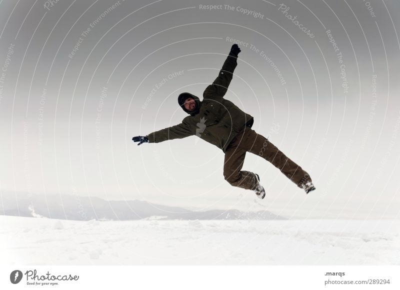 jumper Winter vacation Human being Masculine Adults Landscape Sky Storm clouds Climate Climate change Bad weather To fall Jump Cold Funny Athletic Emotions Joy