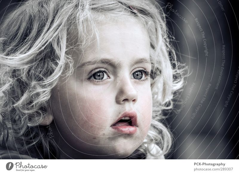 Human being Child Beautiful Girl Face Eyes Feminine Emotions Head Think Infancy Blonde Dirty Contentment Happiness Future