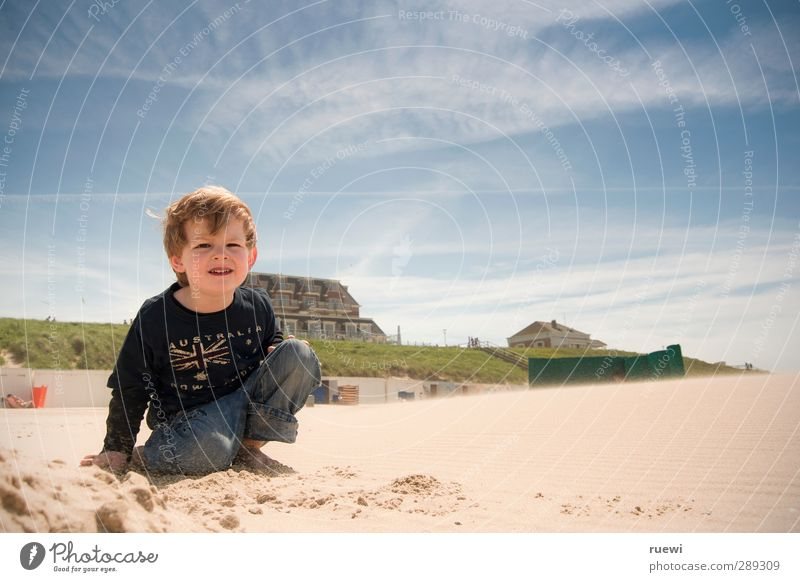 Human being Child Sky Vacation & Travel Summer Sun Beach Clouds Far-off places Life Playing Boy (child) Happy Sand Infancy Blonde