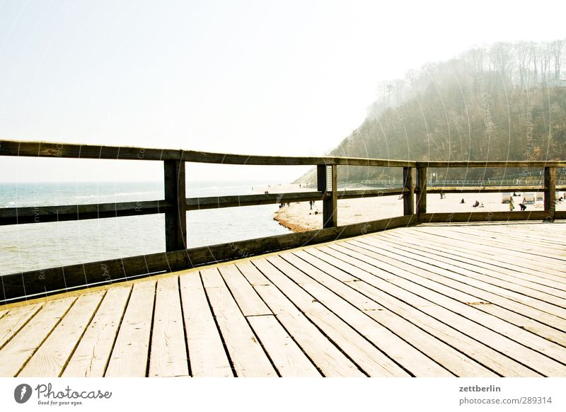 Vacation & Travel Summer Sun Ocean Beach Relaxation Wood Coast Bright Horizon Harbour Handrail Copy Space Baltic Sea Banister Footbridge