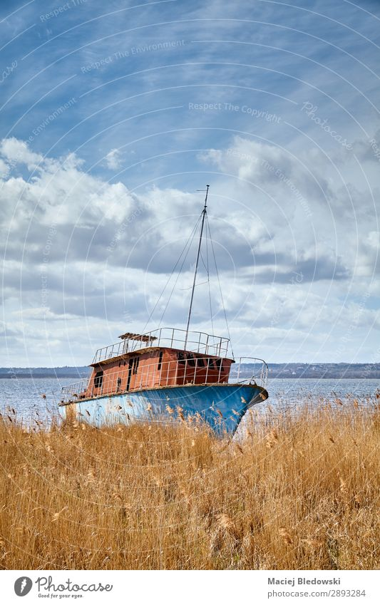 Landscape with a shipwreck and beautiful cloudscape. Beautiful Vacation & Travel Tourism Trip Adventure Far-off places Freedom Beach Ocean Nature Sky Coast Lake