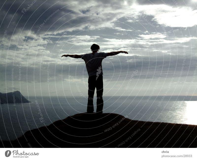 Human being Water Sky Ocean Clouds Emotions Freedom Stone Lake Air Bird Waves Arm Wind Flying Rock
