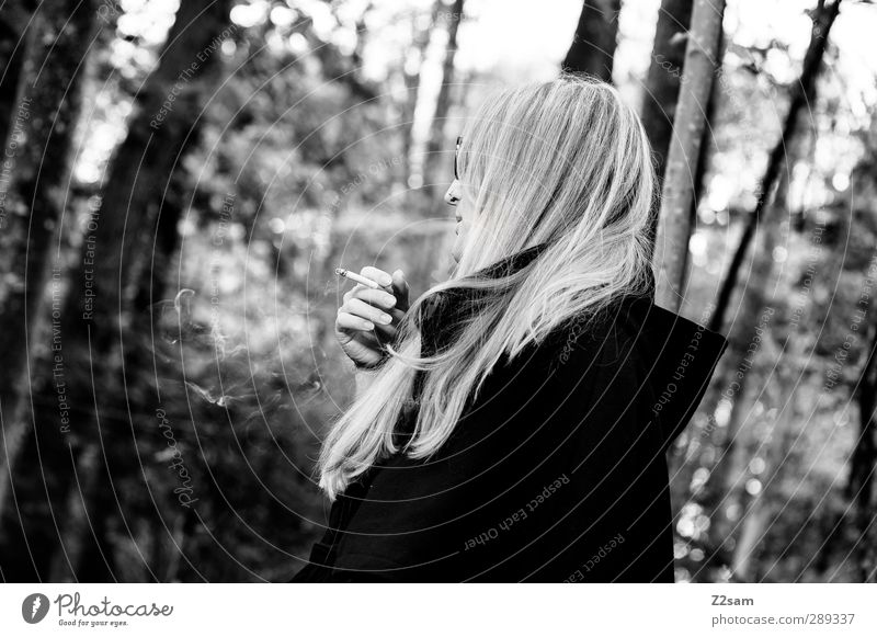 Human being Youth (Young adults) Beautiful Tree Loneliness Calm Forest Adults Young woman Dark Autumn Feminine Think 18 - 30 years Natural Blonde