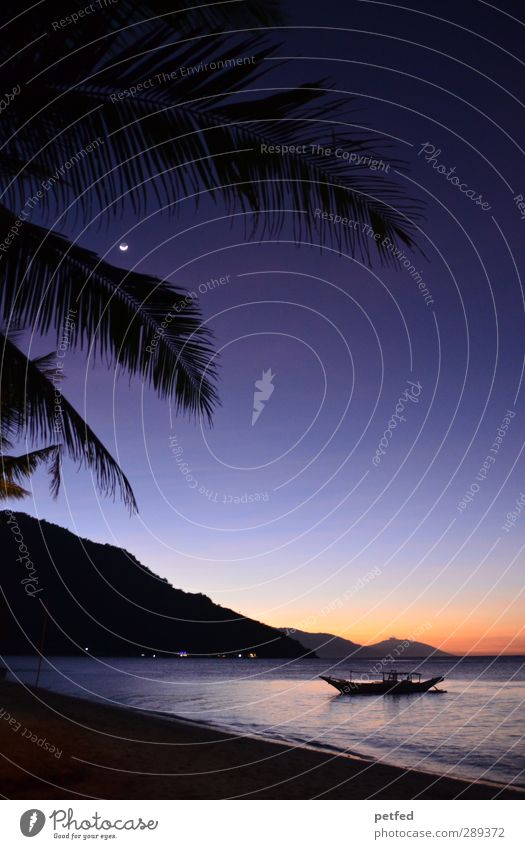 Sky Blue Vacation & Travel Summer Sun Ocean Beach Black Relaxation Warmth Horizon Watercraft Orange Island Idyll Warm-heartedness
