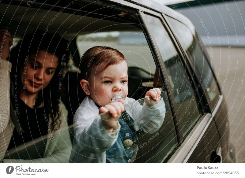 Mother and Daughter in vehicle Lifestyle Vacation & Travel Trip Human being Child Baby Toddler Young woman Youth (Young adults) Adults 2 1 - 3 years