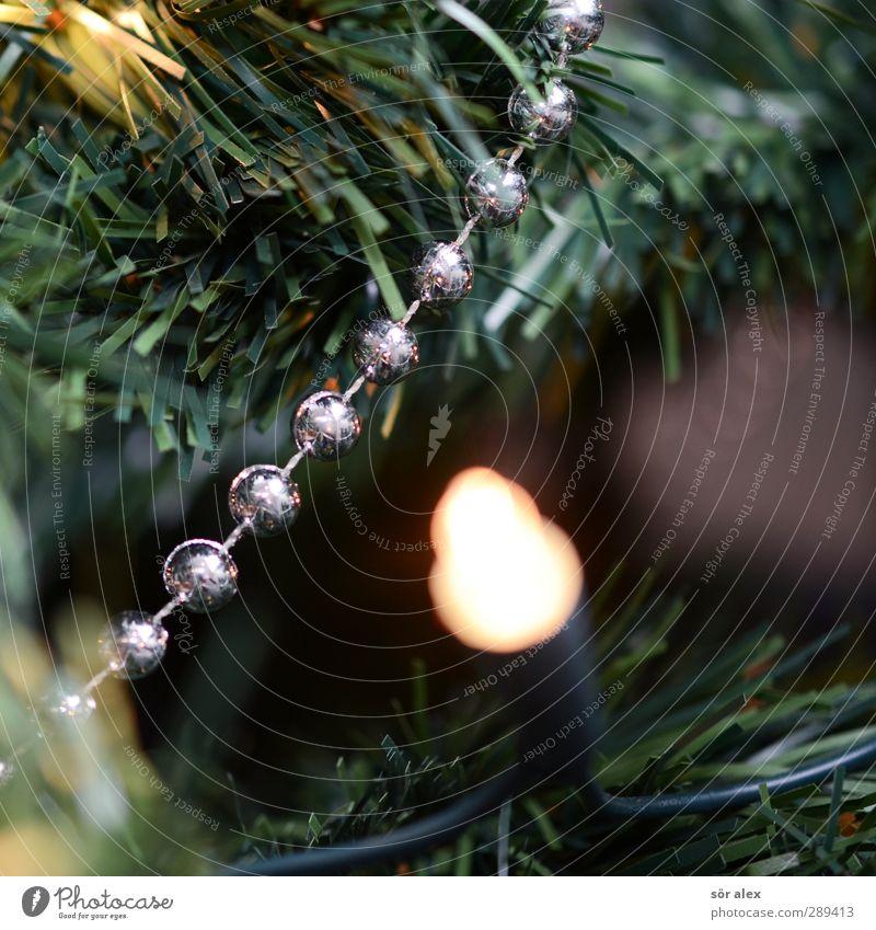 Christmas & Advent Green Happy Glittering Contentment Illuminate Decoration Happiness Joie de vivre (Vitality) Kitsch Plastic Event Christmas tree Silver
