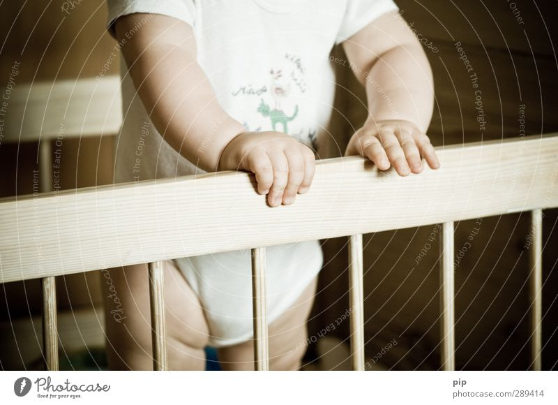 Human being Hand Playing Wood Legs Brown Infancy Arm Skin Stand Baby Fingers Bed Curiosity To hold on Handrail