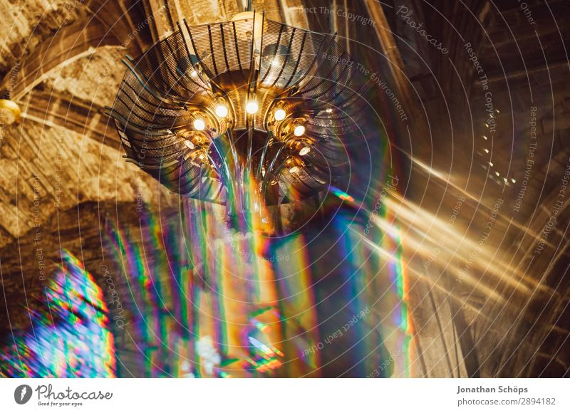 Ceiling of a church blurred with prism Dome Palace Castle Manmade structures Building Religion and faith Christianity Ceiling light God Prism Background picture