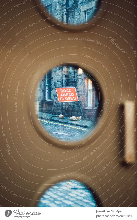 Road sign road closure in Edinburgh Vacation & Travel Tourism Freedom Hiking Town Porthole Build Great Britain Scotland Vacation destination Closed Barred Door