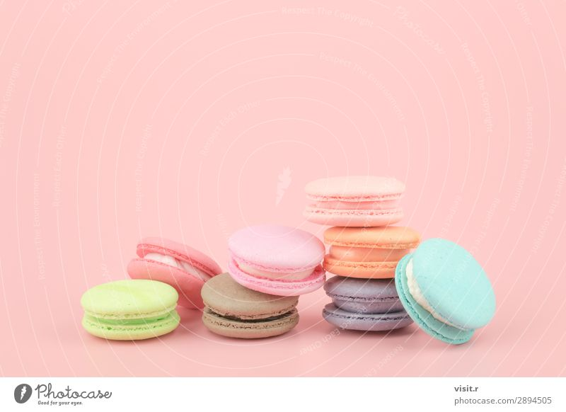 Sweet French macaroons cake with vintage pastel colored tone. Food Cake Dessert Candy Eating Coffee Tea Summer Love Fresh Delicious Retro Soft Blue Brown