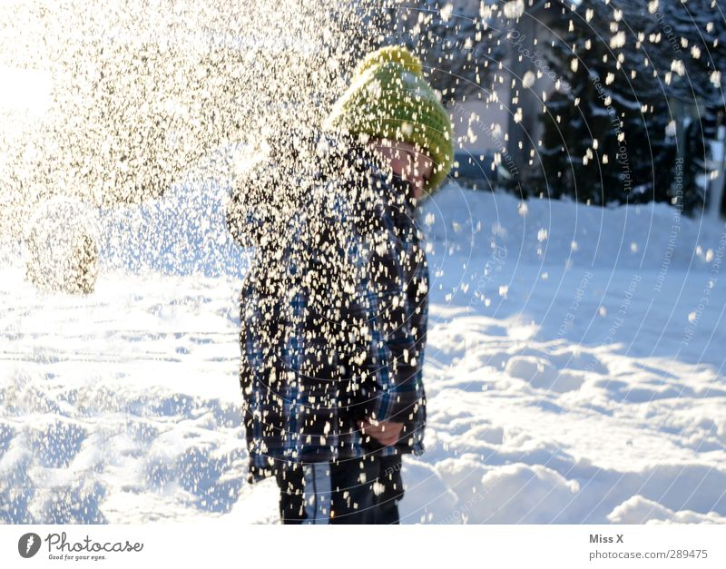 Human being Child White Joy Winter Cold Snow Laughter Playing Snowfall Moody Infancy Leisure and hobbies Toddler Cap Throw