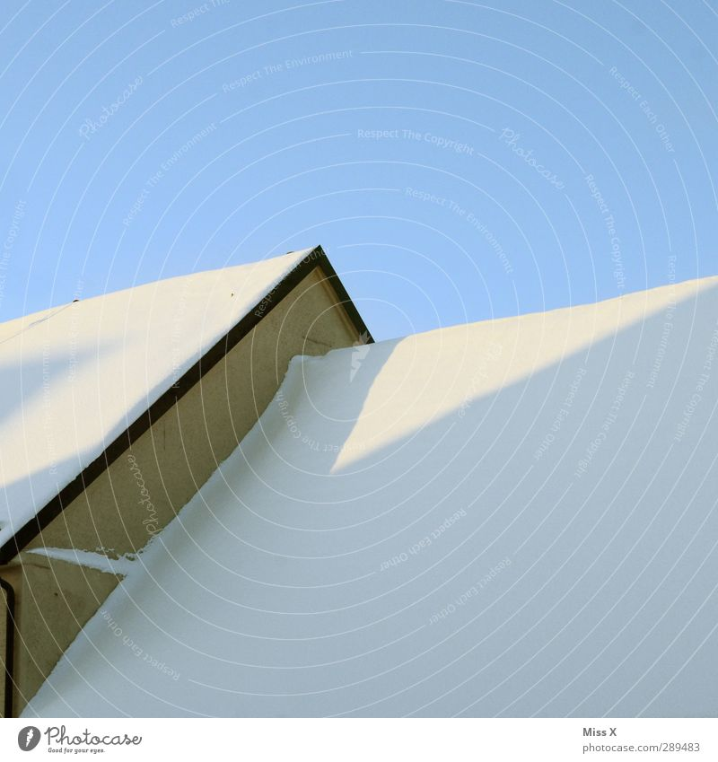 White Winter House (Residential Structure) Snow Roof Cloudless sky