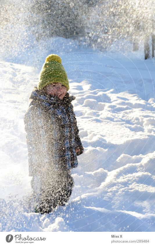 Human being Child Joy Winter Cold Snow Emotions Laughter Playing Happy Snowfall Infancy Happiness Toddler Cap 3 - 8 years