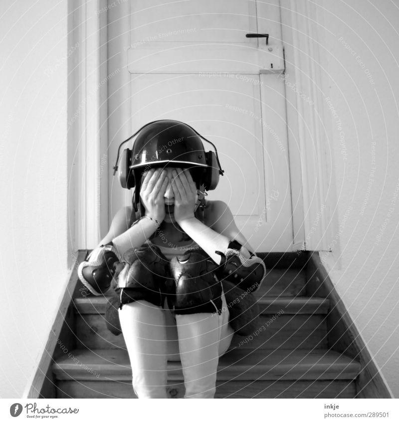 WORLDUNTERGAAAAAAAAANG! Leisure and hobbies Playing Girl Infancy Youth (Young adults) Life Body 1 Human being 13 - 18 years Child Stairs Helmet Knee pad Scream