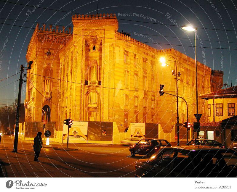 National Library Sarajevo 1 Building Night shot Dusk Historic Orange Architecture
