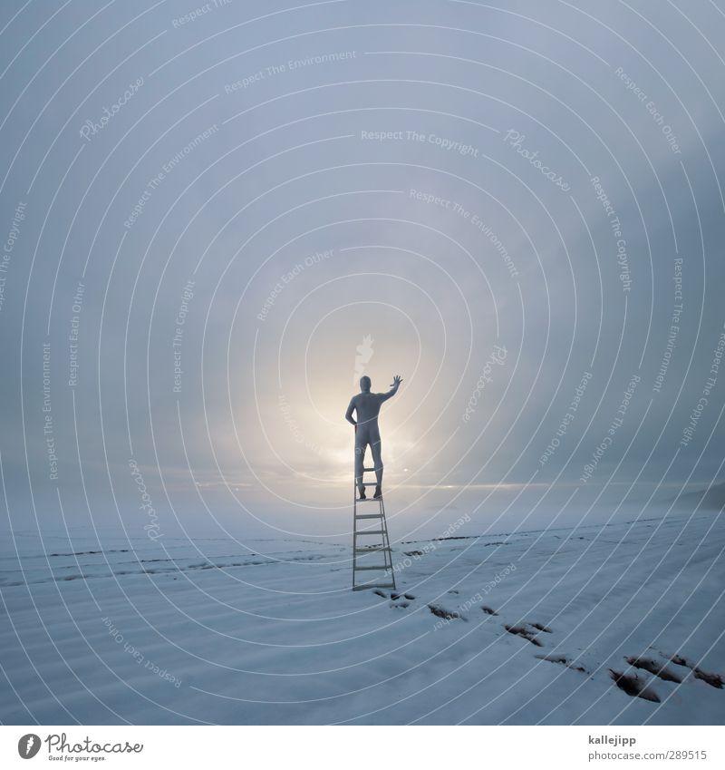Hello World Human being Masculine Man Adults Body 1 Environment Nature Landscape Earth Clouds Horizon Winter Fog Field White Ladder Rung Climbing Stand Future