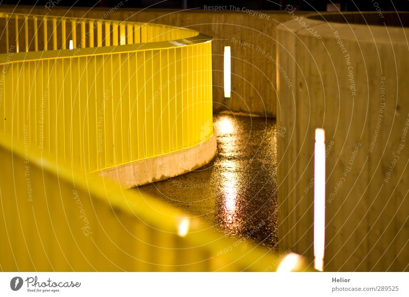 City Yellow Lanes & trails Architecture Building Metal Stairs Modern Concrete Village Banister Pedestrian Parking garage Ramp Light Night