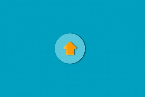 up Paper Sign Signs and labeling Signage Warning sign Arrow Circle Esthetic Simple Blue Orange Beginning Contentment Success Advancement Communicate