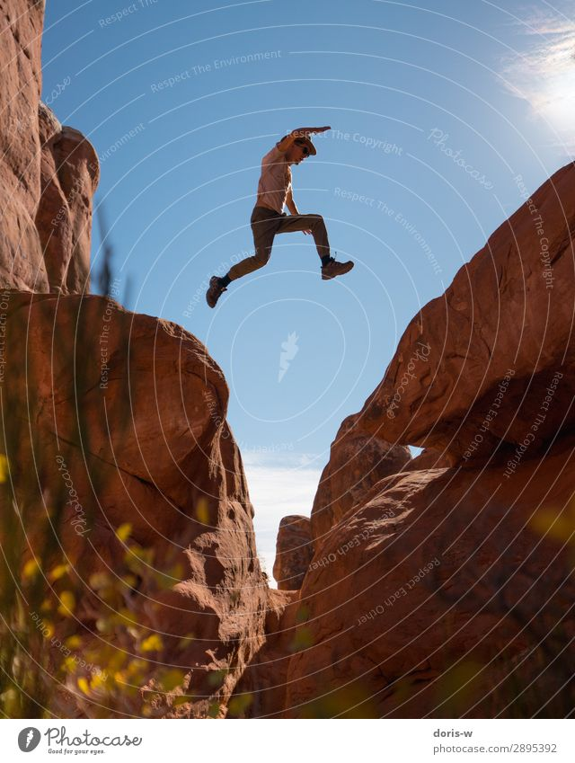 Jump! Athletic Fitness Vacation & Travel Trip Adventure Far-off places Freedom Expedition Summer Mountain Hiking Sportsperson Masculine Young man