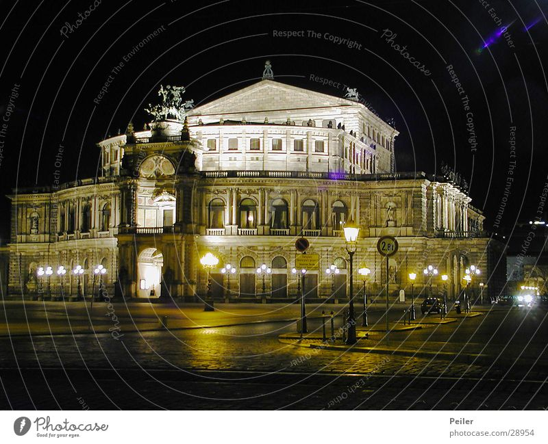 Building Architecture Dresden Opera Night shot Saxony Semper Opera
