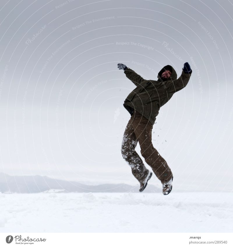 Human being Nature Winter Adults Cold Snow Emotions Jump Exceptional Masculine Climate Sign Storm Hover Career Surrealism