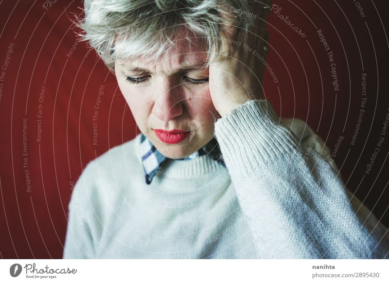 Middle age woman suffering pain Medical treatment Illness Medication Human being Feminine Androgynous Woman Adults 1 30 - 45 years Gray-haired Short-haired Old
