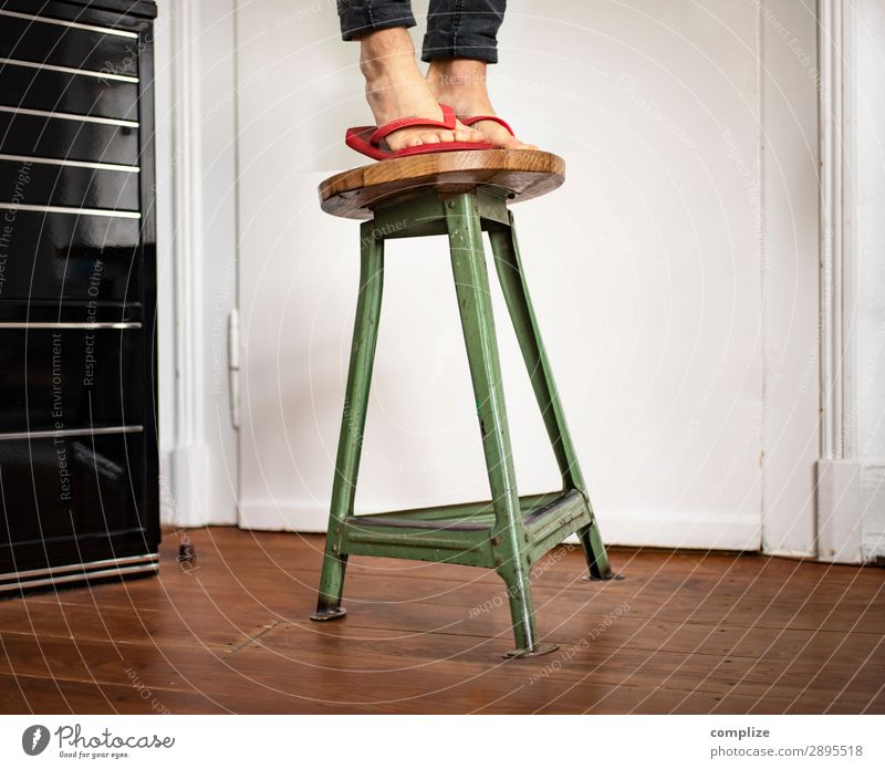 A stool is not a ladder Lifestyle Healthy Health care Living or residing Flat (apartment) Redecorate Arrange Furniture Room Living room Kitchen Climbing