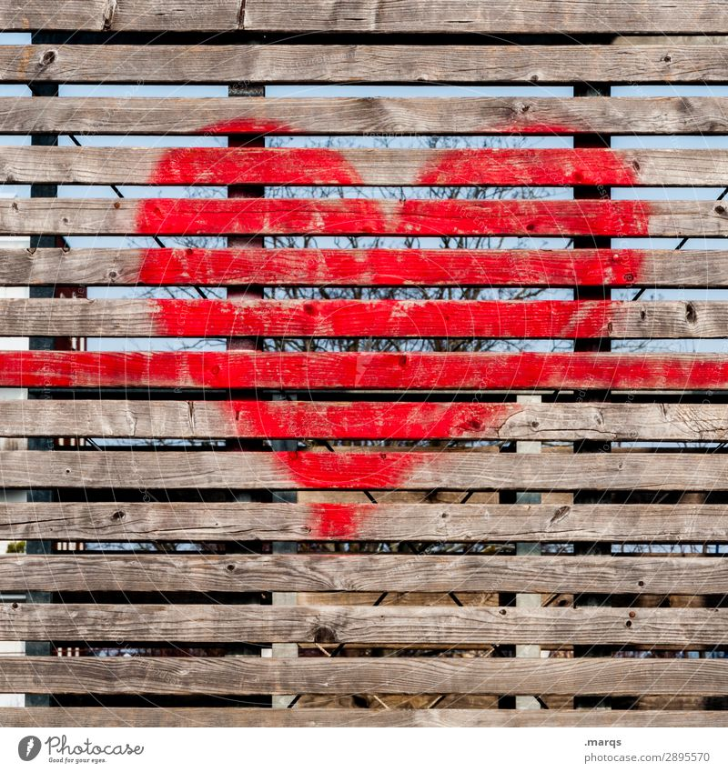 heart Wall (barrier) Wall (building) Wooden wall Graffiti Heart Simple Love Infatuation Romance Colour photo Exterior shot Structures and shapes Deserted
