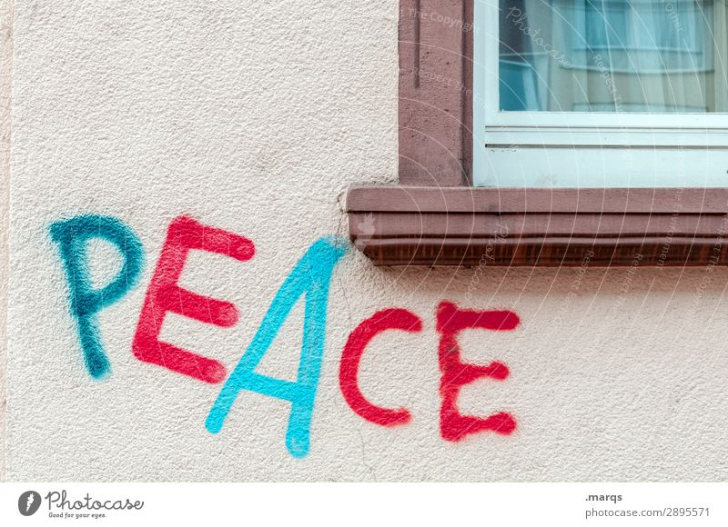 peace Wall (barrier) Wall (building) Window Characters Graffiti Peace Politics and state Dye Colour photo Exterior shot Copy Space top