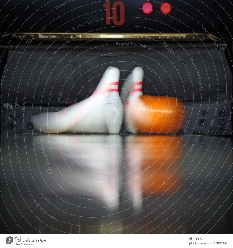 savings Leisure and hobbies Playing Bowling Bowling alley Bowling ball Skittle Speed Dynamics Colour photo Interior shot Copy Space bottom Motion blur