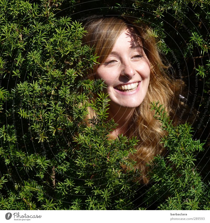The day after that, can I come back out? Woman Adults Head Environment Nature Bushes Park Blonde Long-haired Curl Laughter Illuminate Happiness Fresh Green