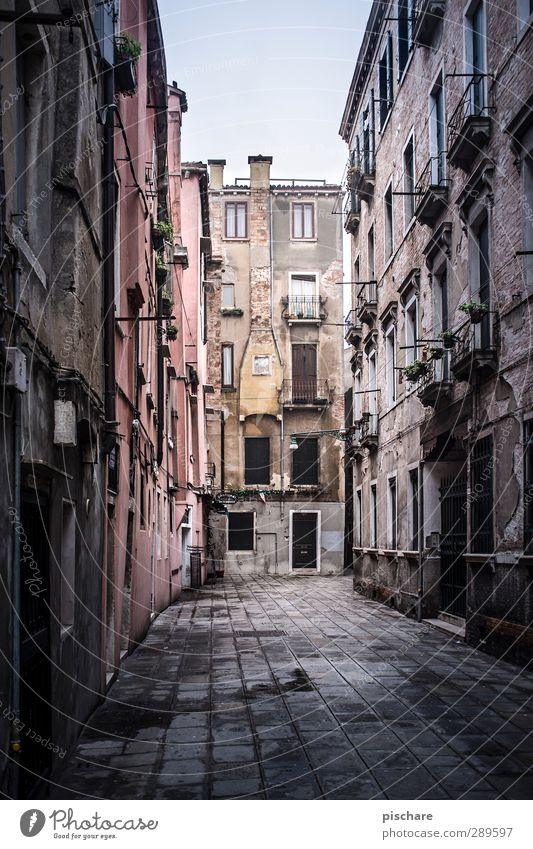 Venice without water Town Downtown Old town Deserted House (Residential Structure) Facade Chimney Dark Italy Alley Colour photo Exterior shot Day