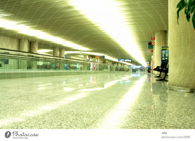 Bench Tile Airport Palm tree Majorca Gate Escalator Production Conveyor belt Strip of light