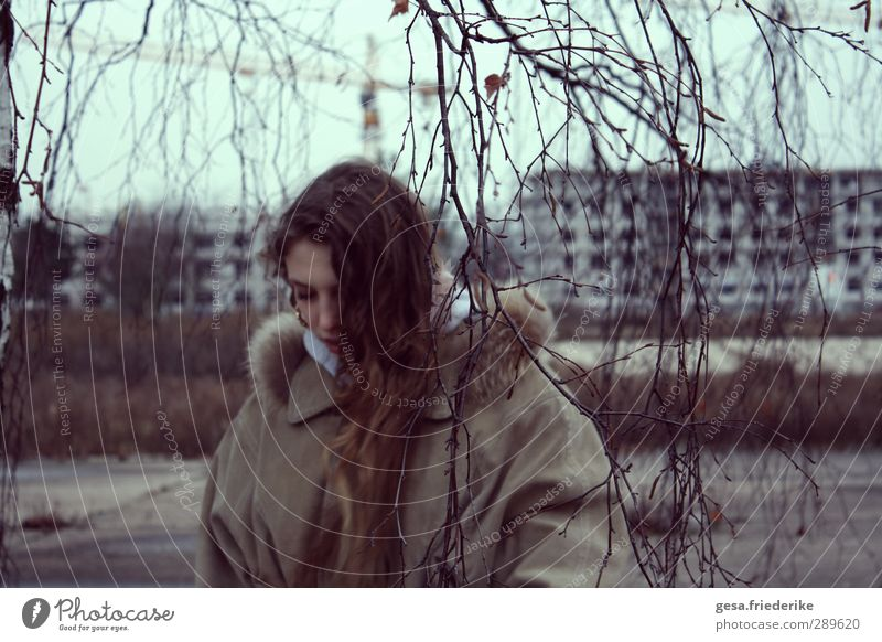 YOU Hair and hairstyles Far-off places Construction site Young woman Youth (Young adults) 1 Human being 13 - 18 years Child Landscape Horizon Winter Bad weather