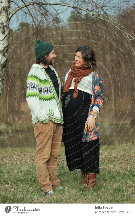 anticipation parents pregnant couple Masculine Feminine Woman Adults Man Parents Partner 2 Human being 30 - 45 years Nature Spring Tree Forest Lakeside Scarf