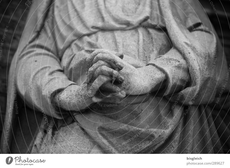 praying hands Human being Feminine Arm Hand 1 Art Sculpture Stone Gray Calm Hope Belief Prayer Virgin Mary Black & white photo Exterior shot
