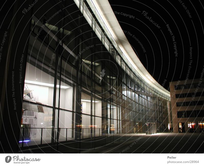 Nuremberg at Night 2 Dark Black White Glas facade Building Architecture Glass