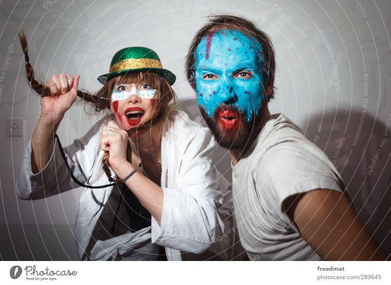 Human being Woman Man Blue Colour Joy Adults Feminine Laughter Happy Party Dance Masculine Happiness Crazy Joie de vivre (Vitality)