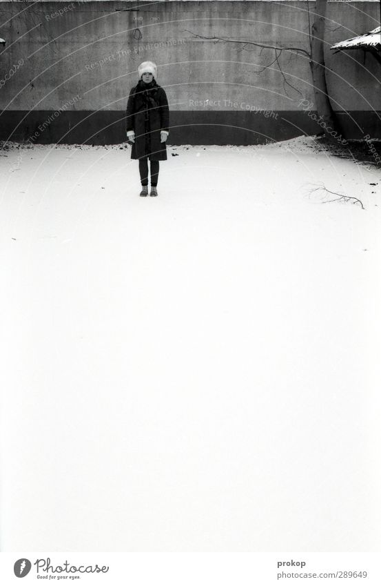 Human being Woman Youth (Young adults) Beautiful Loneliness Winter Calm Adults Young woman Cold Snow Feminine Wall (barrier) Style Power Stand