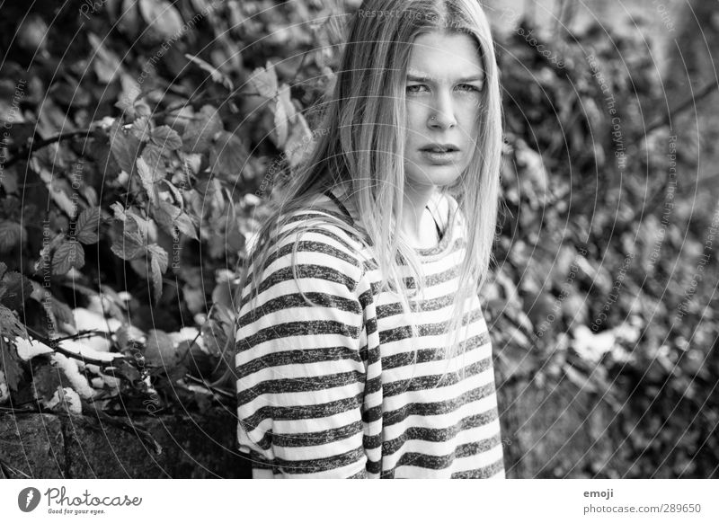 You Young woman Youth (Young adults) 1 Human being 18 - 30 years Adults Environment Nature Beautiful Striped sweater Black & white photo Exterior shot Day