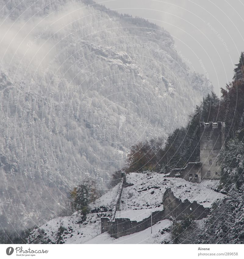 Old White Loneliness Winter Clouds Landscape Forest Dark Mountain Wall (building) Snow Architecture Wall (barrier) Gray Building Stone