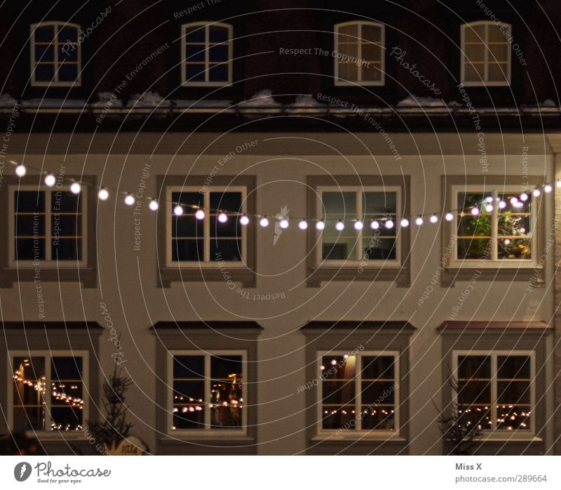 House (Residential Structure) Window Facade Illuminate Downtown Christmas decoration Old town Fairy lights Christmas fairy lights
