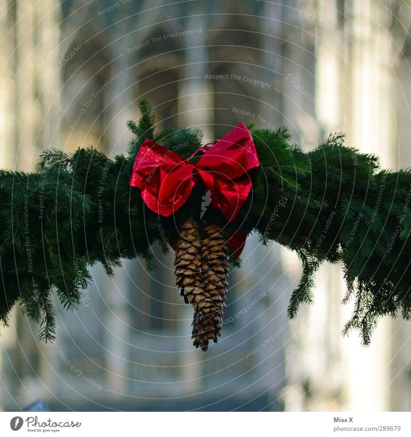Christmas market Christmas & Advent Red Bow Cone Paper chain Fir branch Ulm Cathedral Christmas Fair Christmas decoration Decoration Colour photo Multicoloured