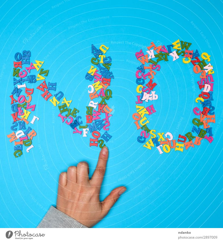 word no from multicolored small wooden letters Study Business Woman Adults Hand Playing Simple Modern Blue Multicoloured Green Caution Colour Emotions Idea