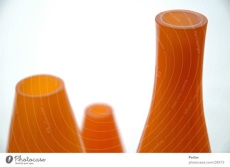 Flower vases in orange Vase White Still Life Round Oval Living or residing Orange Glass